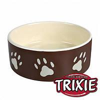 Trixie (Трикси) Миска керамическая для собак с лапками коричневая, 0,3л/12см