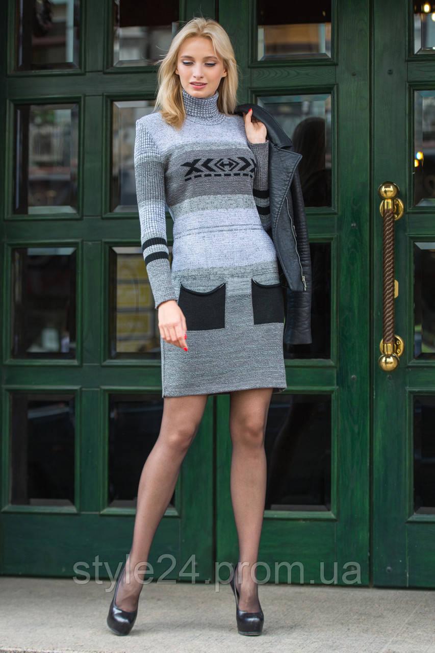 Вязане жіноче плаття з кишенями.Р-ри 44-50  продажа 301930b203102