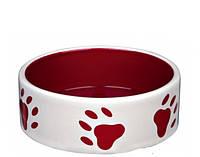 Trixie (Трикси) Миска керамическая для собак с лапками красная, 0,3л/12см