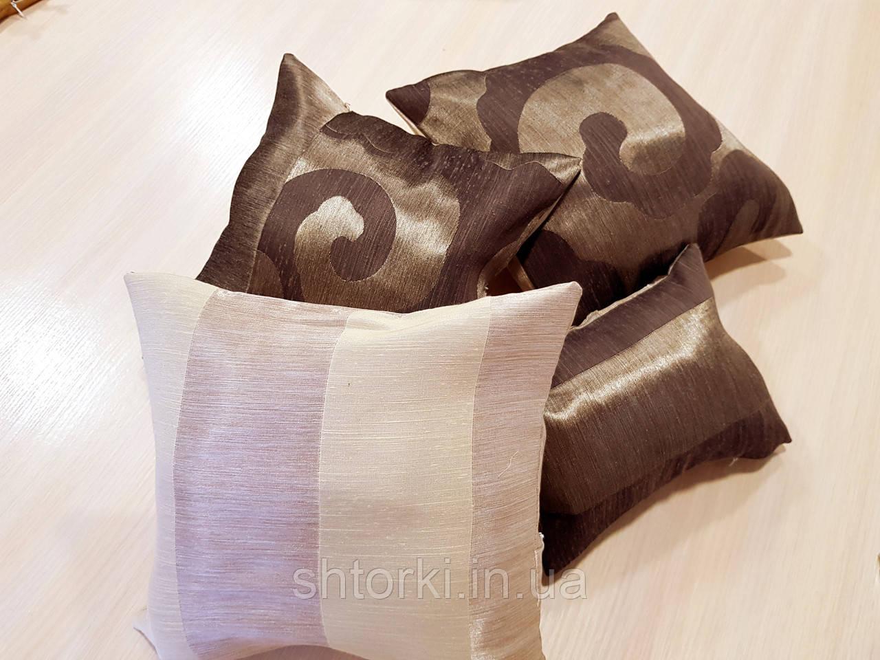 Комплект подушек  Завитки шоколад и молочная, 4шт