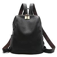 Рюкзак женский городской из экокожи для девушек (черный), фото 1