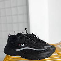 Мужские кроссовки Fila Ray Black. Живое фото (Люкс реплика ААА+)