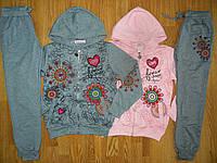 Спортивный костюм трикотажный для девочки розовый с серым, размер 134-164 см.
