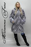 Женская шуба из искусственной норки, светло-серый леопард №46