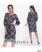 c59da72caac Женственное платье по фигуре с рукавами-фонариками длиной ¾ и съемным  поясом размер 42