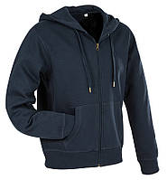 Мужская кофта с капюшоном на молнии темно-синяя, кенгуру Stedman -  Blue Midnight СТ5610