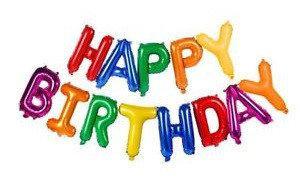 """Фольгированная гирлянда-надпись """"Happy Birthday"""".Цветные. Размер: 40 см."""