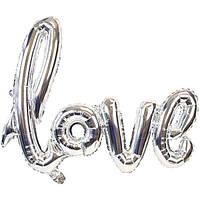 """Фольгированная гирлянда-надпись """"Love"""". Цвет: Серебро. Длина: 89х60 см."""