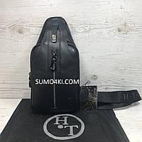 Кожаная мужская сумка - слинг H.T Leather