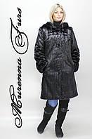 Женская шуба из искусственной норки, черная норка под натуралку