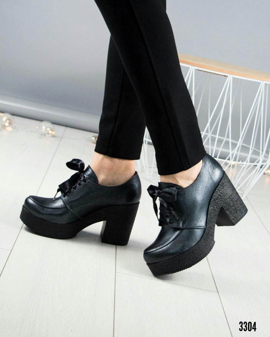 Туфли женские на шнуровке серые