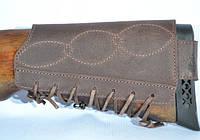 Патронташ на приклад на 6 патронов кожа, фото 1