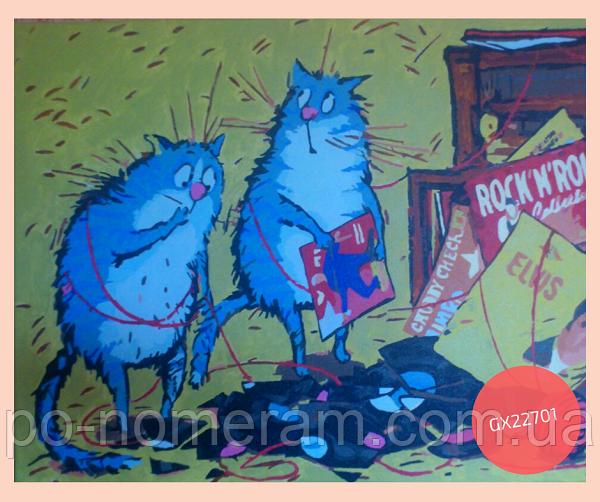 нарисованная картина по номерам синие коты
