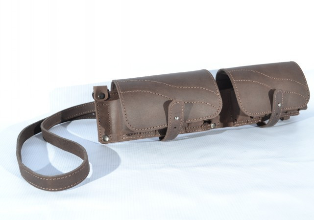 Патронташ на 24 патрона двухрядный кожа Ретро , фото 1