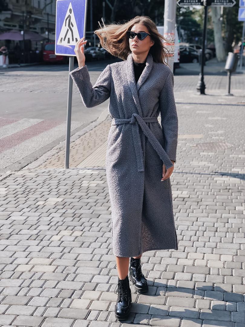 Женское шерстяное удлиненное пальто