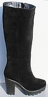 Женские замшевые демисезонные сапоги на каблуке от производителя модель НП828-1Д, фото 1
