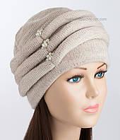 Теплая женская шапка Октава бежевого цвета