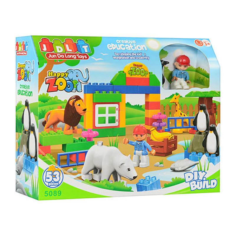 """Конструктор JDLT 5089 (реплика Lego Duplo) """"Зоопарк"""" 53 дет"""