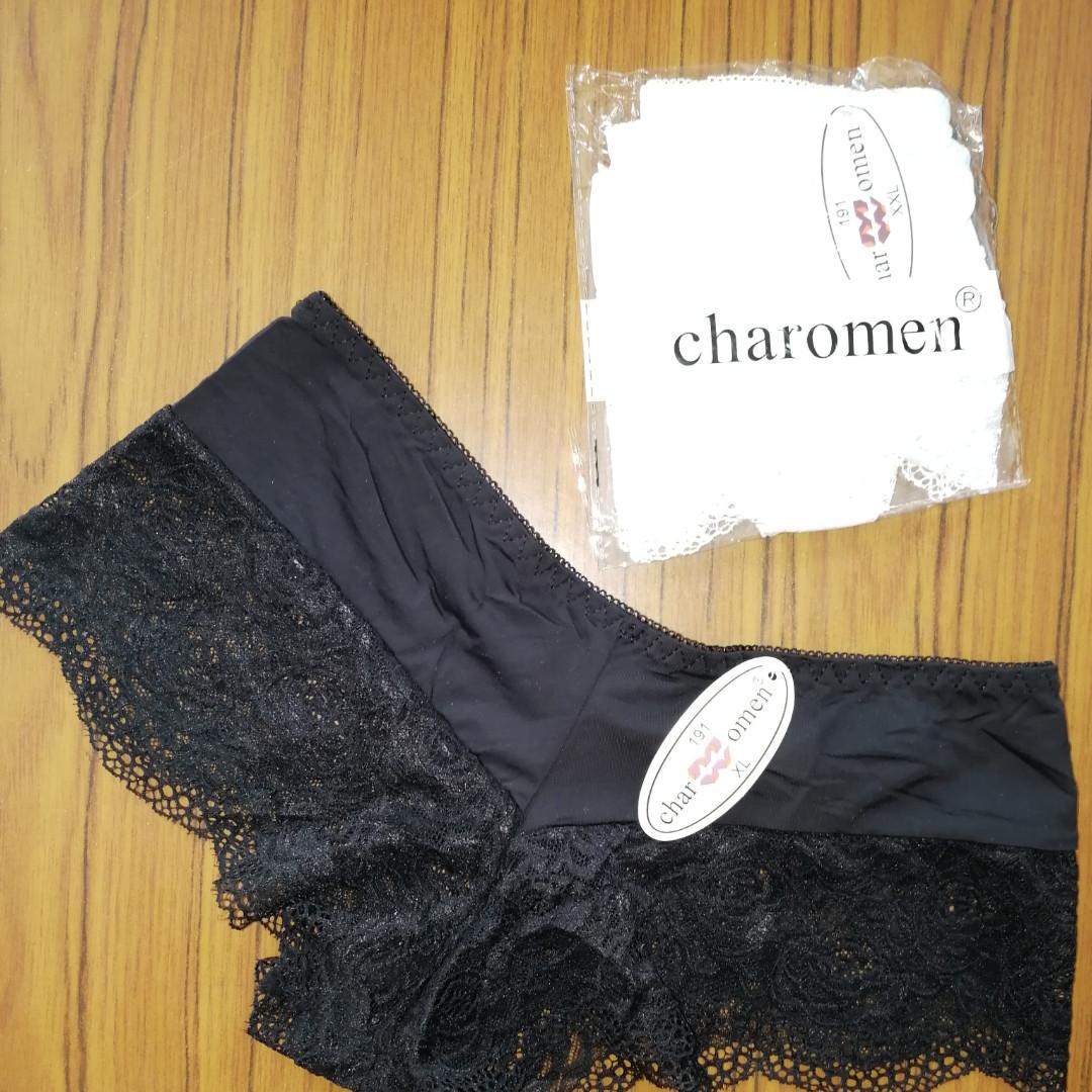 Трусики-шорты черные, микрофибра с мягким гипюром под Victoria's Secrets