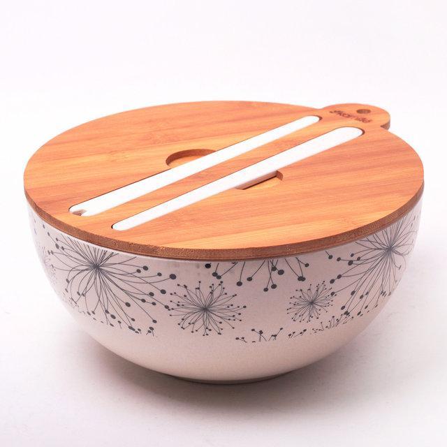 Миска Kamille Ø27*12.2 см из бамбукового волокна с бамбуковой крышкой и приборами, бамбуковая миска
