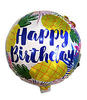 Фольгированный шар Happy Birthday ананасы
