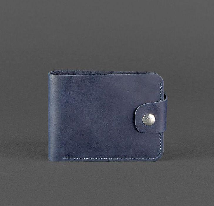 Компактный кожаный кошелек на кнопке синий (ручная работа)