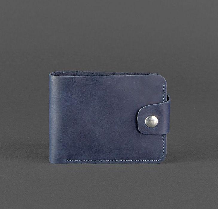 Компактный кожаный кошелек на кнопке синий (ручная работа), фото 1