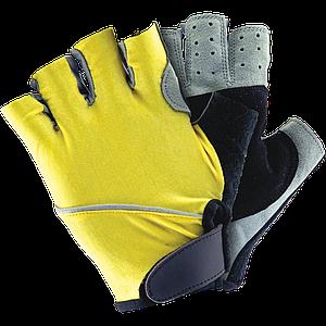 Защитные перчатки RK3-FIN YBS L с открытыми пальцами, желто-черного цвета. REIS