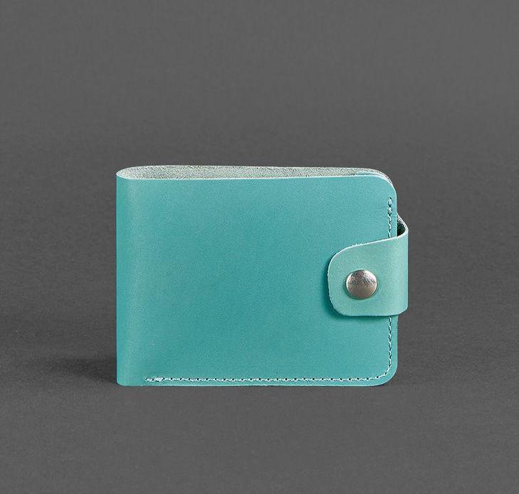 Компактный кожаный кошелек на кнопке бирюзовый (ручная работа)