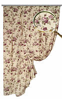Портьера хлопковая в стиле прованс, рисунок мелкая роза цвет сирень