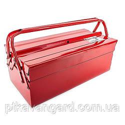 Ящик для инструмента металлический 450 мм, 3 секции INTERTOOL HT-5043