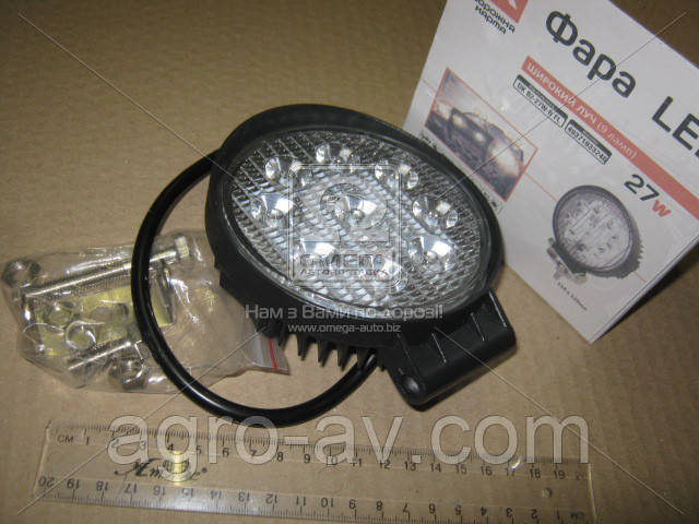 Фара LED (DK B2-27W-B FL) круглая 27W, 9 ламп, 110*128мм, широкий луч <ДК>