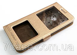 Чехол книжка с окошками momax для Huawei P20 Lite золотой