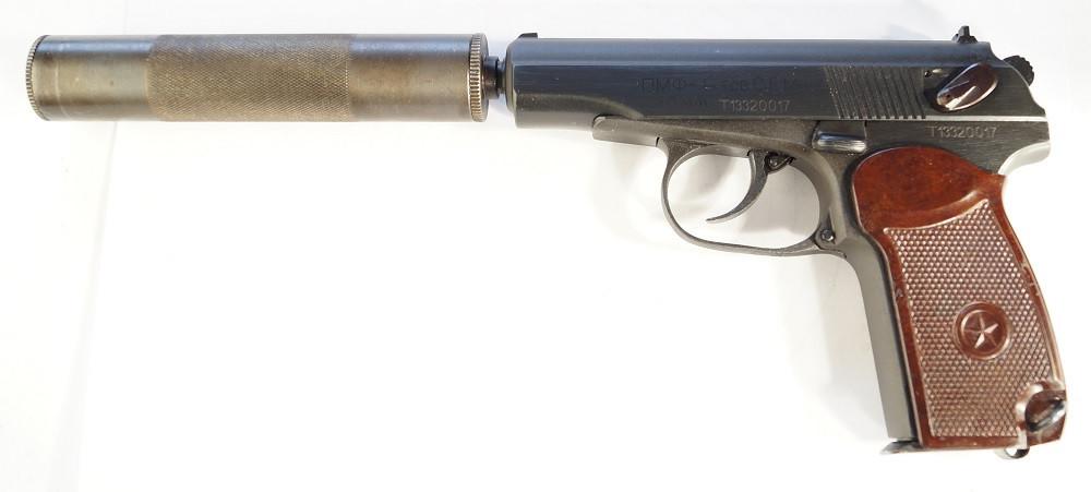 Пистолет под патрон Флобера СЕМ ПМФ-1 С ИМИТАТОРОМ ГЛУШИТЕЛЯ
