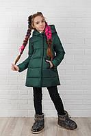 Куртка детская зимняя из плащевки с капюшоном (3 цвета) - изумрудный KL/-69360