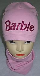 Шапка трикотажная+хомут Барби на девочку удлиненная 3-8 лет, разные цвета