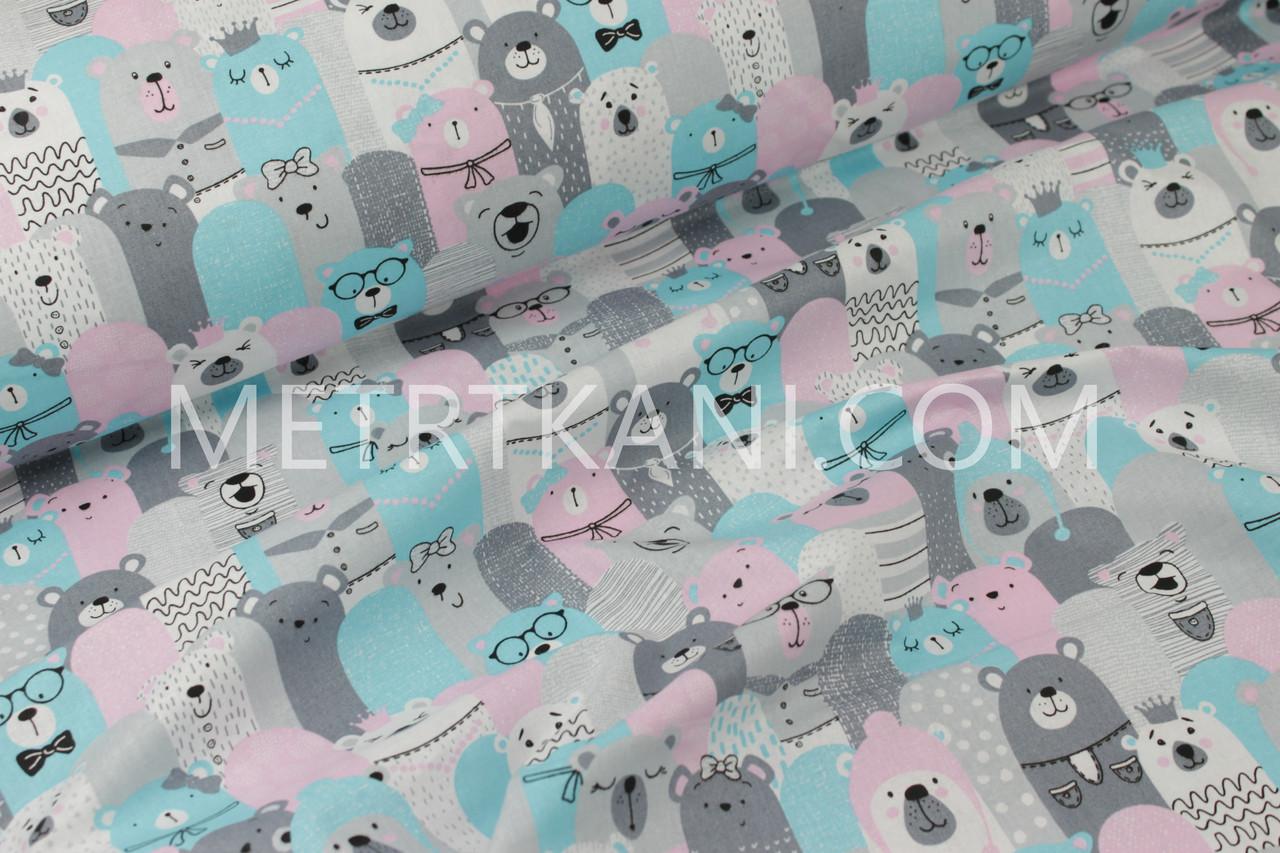 """Ткань хлопковая """"Мишки в коронах """" бирюзово-розовые   №1181"""
