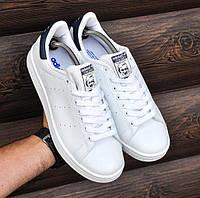 Мужские кроссовки Adidas Stan Smith White Black (топ реплика ААА+) c2e109bad82e6