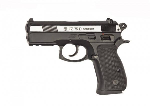 Пневматичний пістолет ASG CZ 75D Compact вставка нікель, фото 2