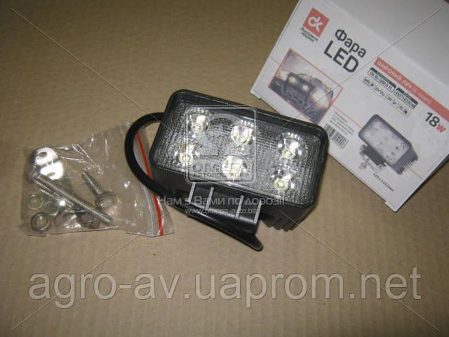 Фара LED (DK B2- 18W-B SL) прямоугольная 18W, 6 ламп, 110*114,5мм, узкий луч <ДК>