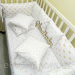 Бортики в кроватку «Белоснежная сказка» (с простынкой и плюшевым пледом)