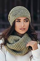 Модная шапка и снуд женская-оливковый меланж