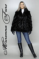 Женская шуба из искусственной норки, черная норка № 32