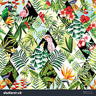 Фотообои цветы, попугаи и фламинго