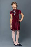 Нарядное бархатное платье для девочки бордо