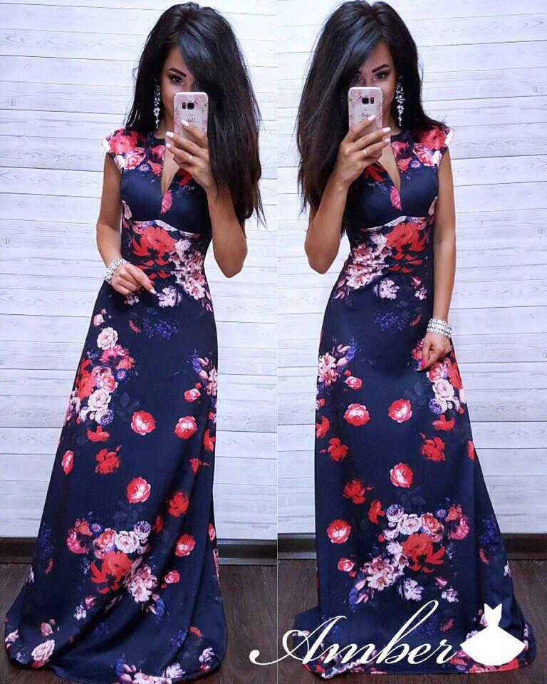 Платье в пол с декольте с цветочным принтом