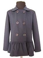 Черный пиджак для девочек 128,140,152,164 роста трикотажный
