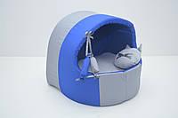 Будка для котов и собак Комфорт лето синяя, фото 1