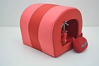 Будка туннель для собак и котов Комфорт лето красная мини 200х250х200. мм, фото 1