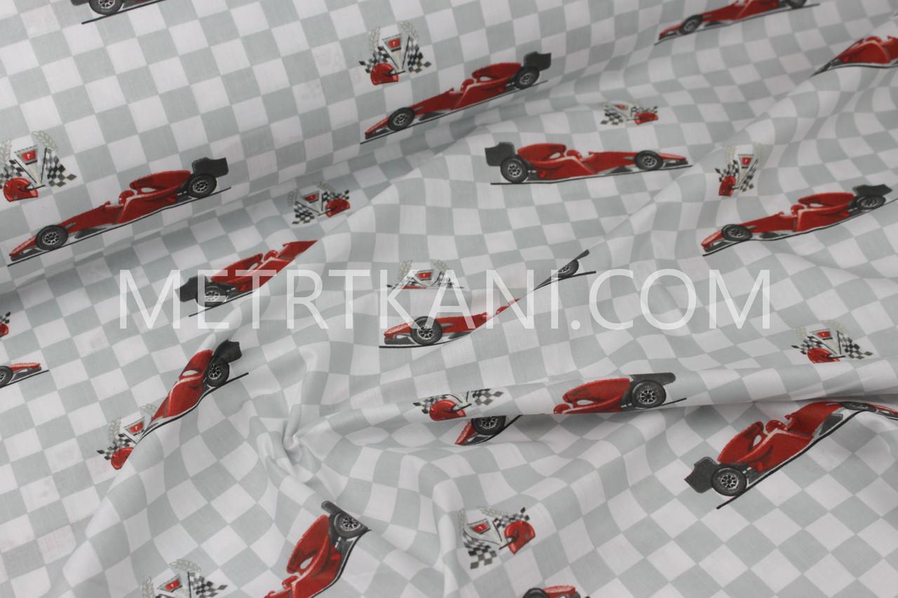 """Ткань хлопковая  """"Спортивные красные машины """" на шахматном фоне  №1186"""